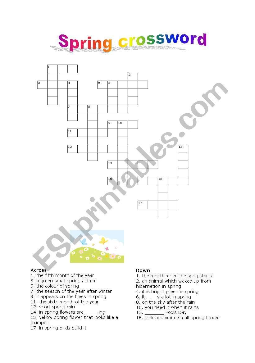 English Worksheets Spring Crossword