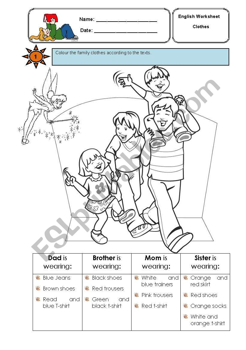 Colouring the family clothes worksheet