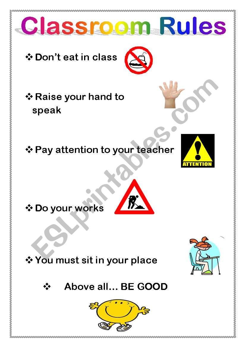 classroom rules esl worksheet by miarish. Black Bedroom Furniture Sets. Home Design Ideas