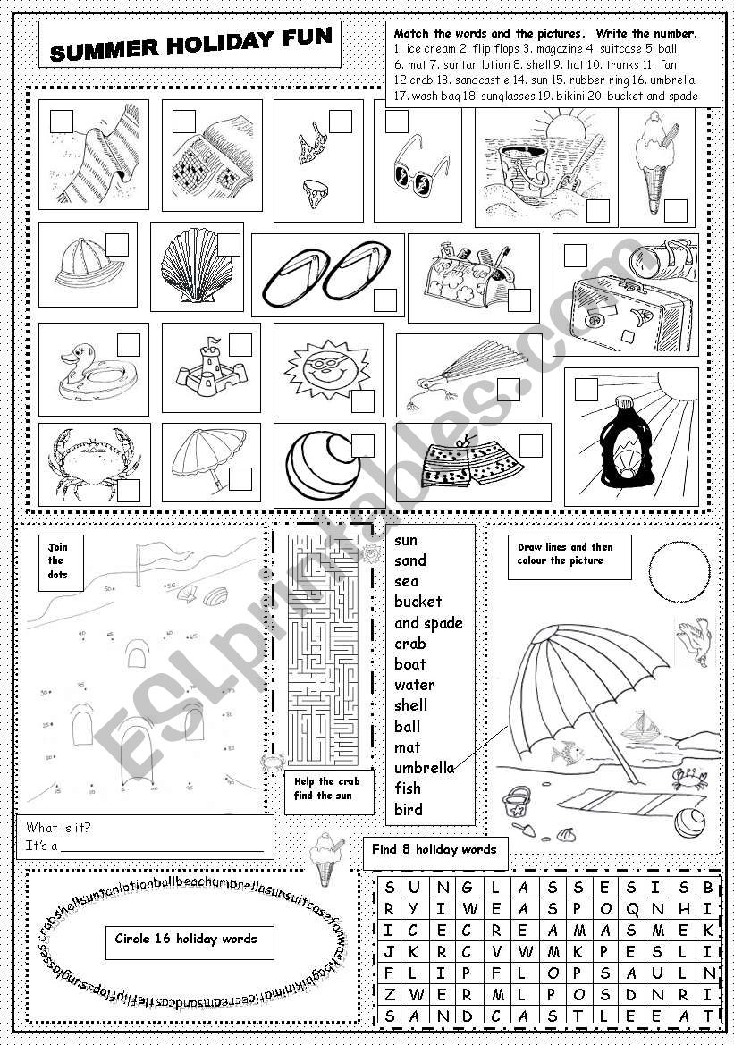 english worksheets summer holiday fun. Black Bedroom Furniture Sets. Home Design Ideas