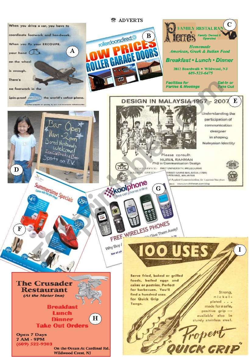 Match the adverts with the paragraphs