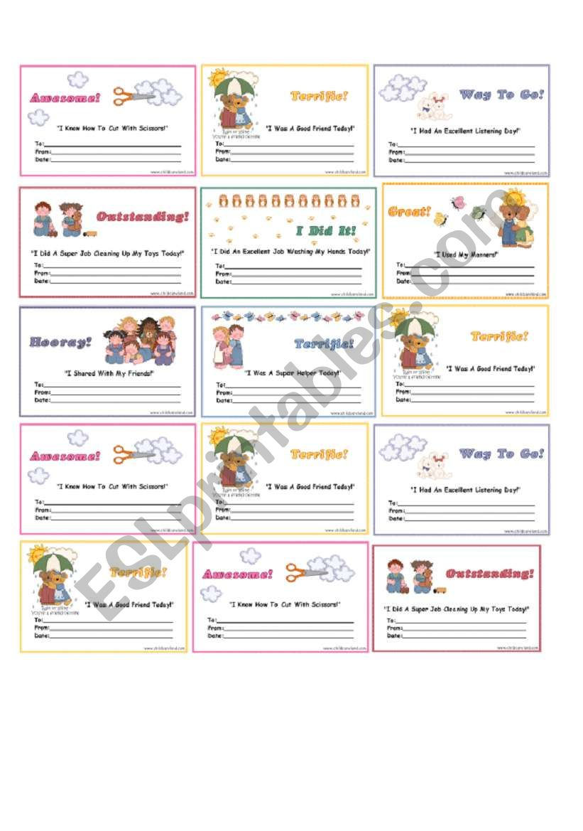 certificates worksheet