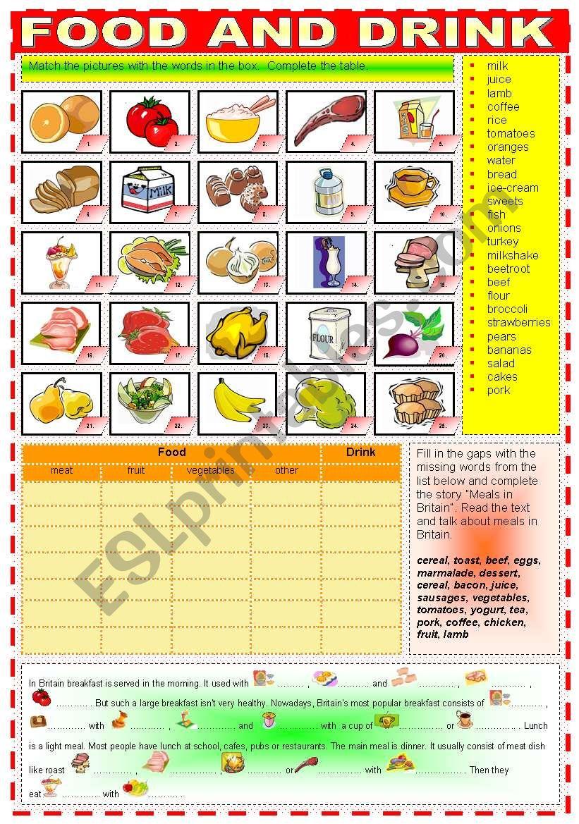 FOOD AND DRINK worksheet