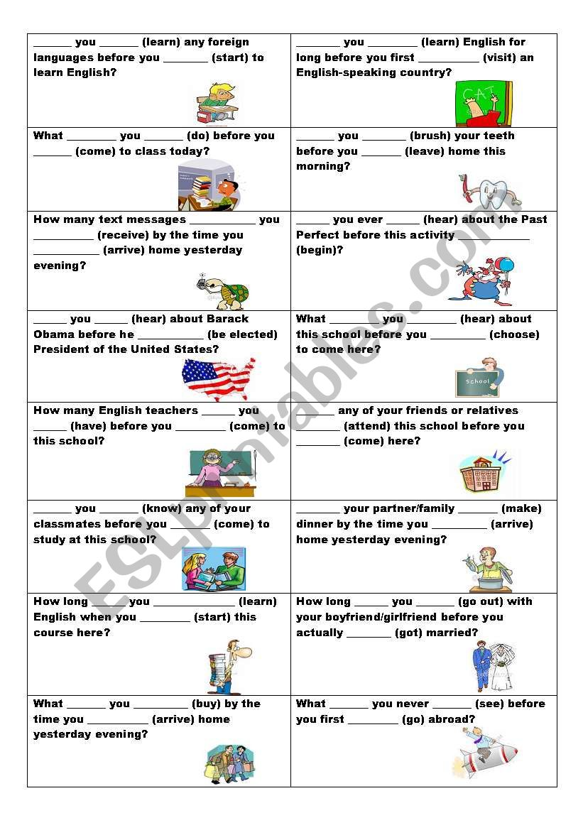 Conversation cards (No. 13) - Past Simple or Past Perfect? - ESL worksheet  by ildibildi