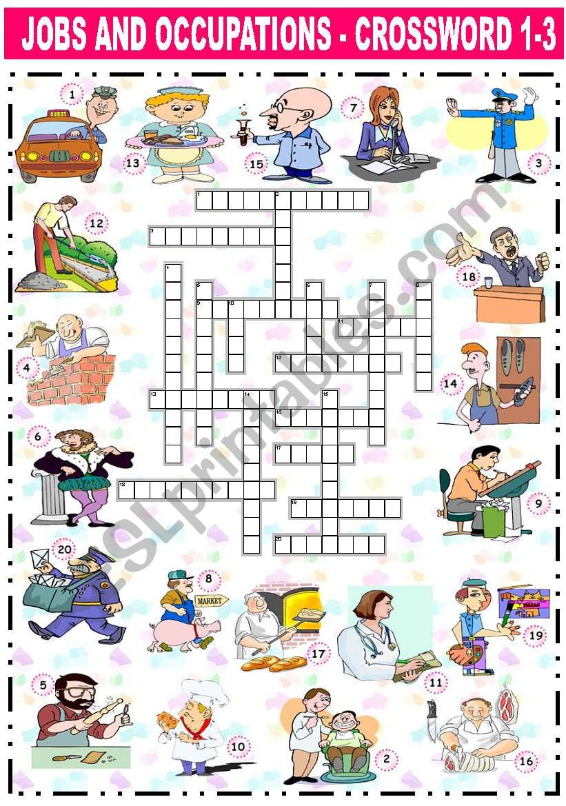 JOBS AND OCCUPATIONS - CROSSWORD (1-3)