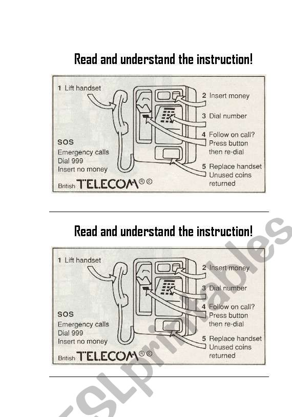 Telephone Instructions worksheet