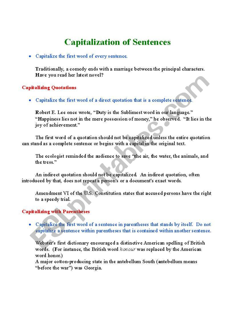 Capitalization of Sentences worksheet