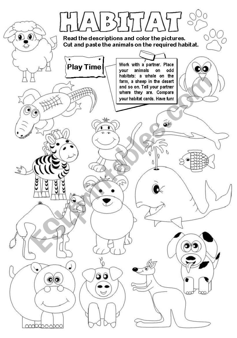 English Worksheets Animal Habitats