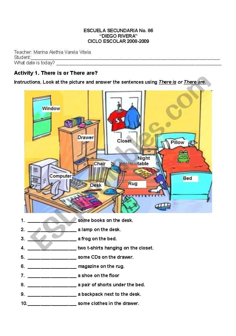 Things in a bedroom - ESL worksheet by Xegabri