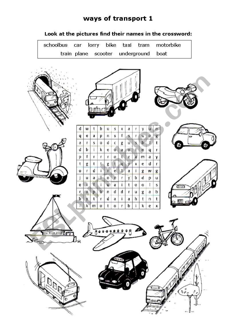 Ways of  transport 1 worksheet