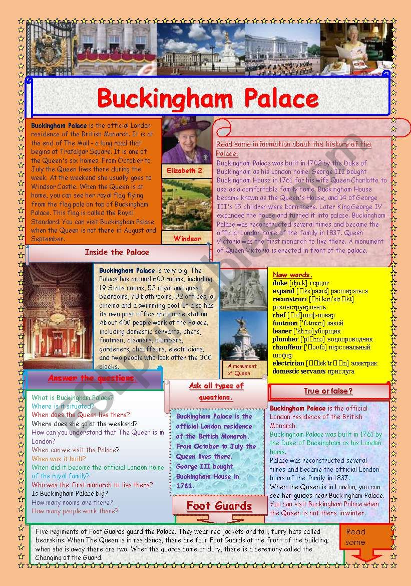 Buckingham Palace (2 pages) worksheet
