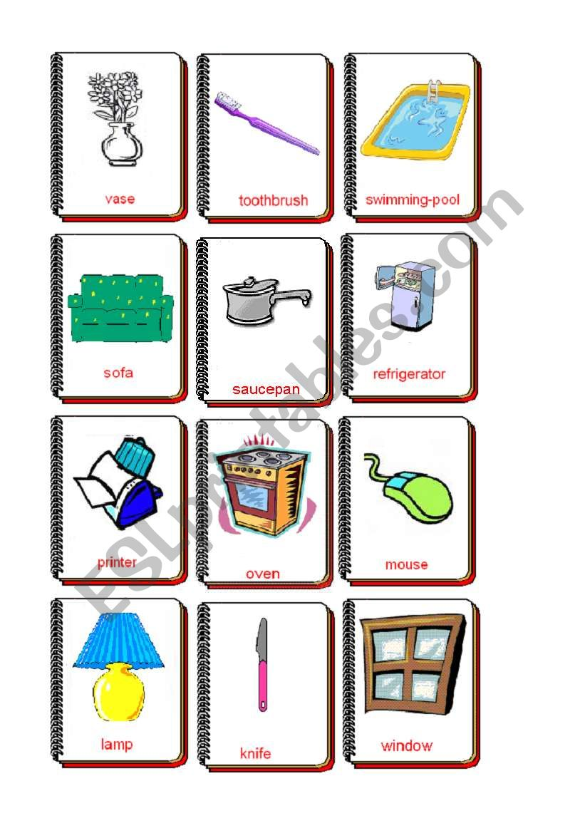 Flashcards The house 2 - ESL worksheet by Magalie B.