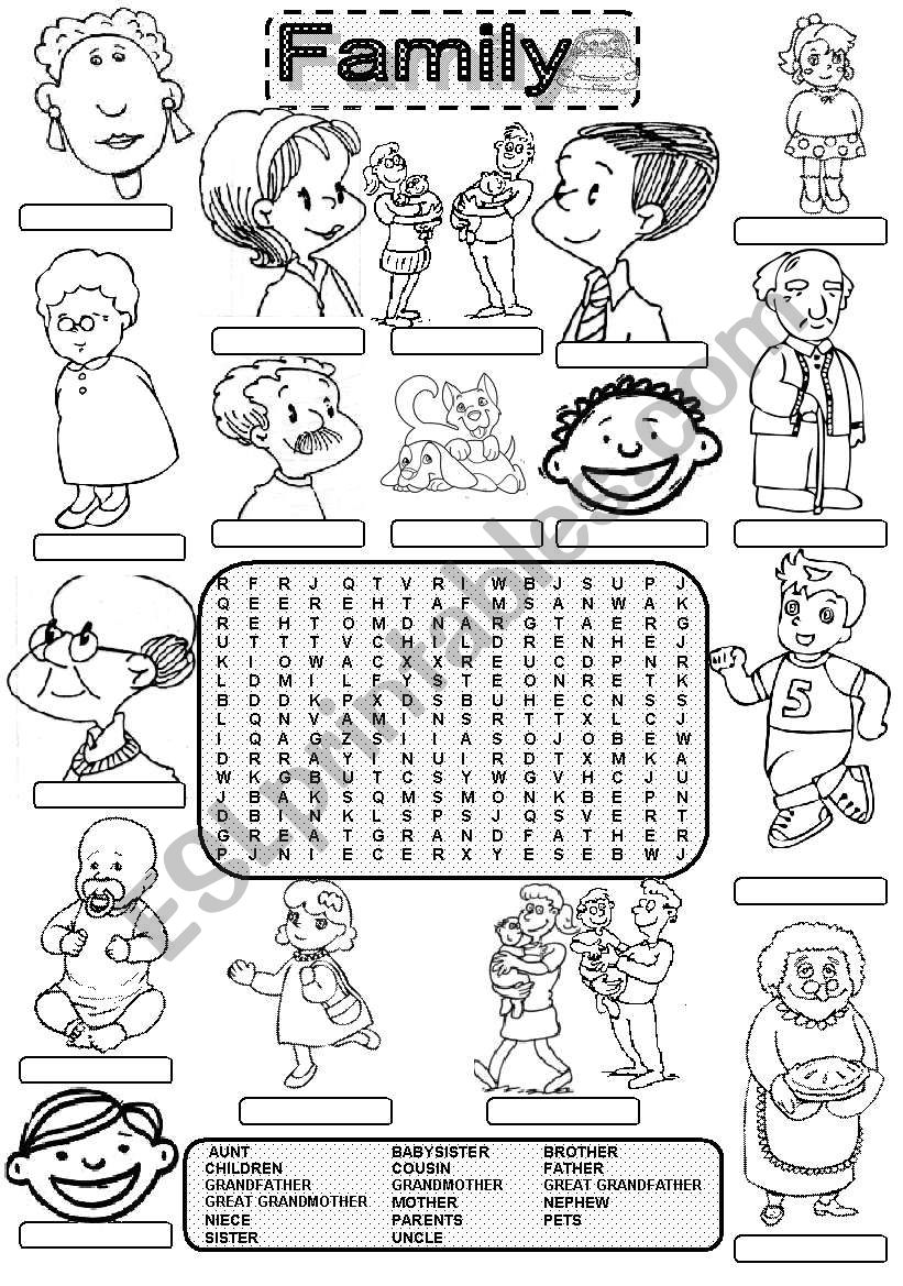 Wordsearch FAMILY MEMBERS worksheet