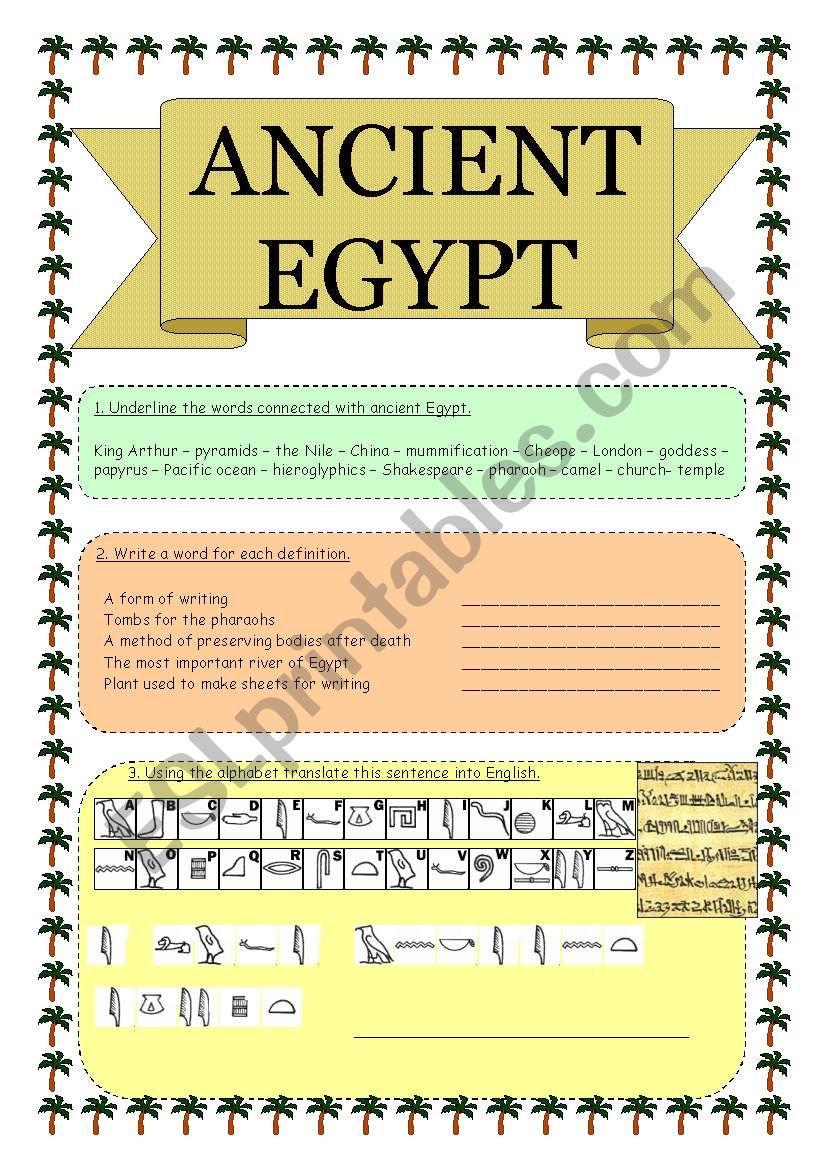 ANCIENT EGYPT worksheet