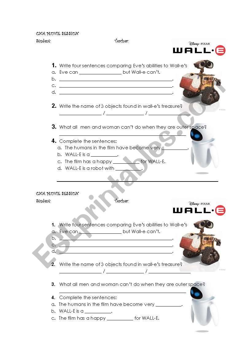 worksheet Wall E Movie Worksheet english worksheets wall e worksheet worksheet