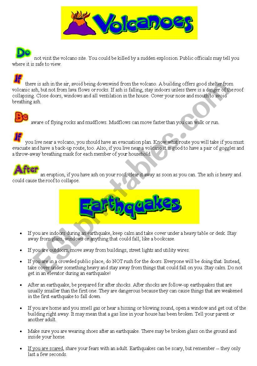 worksheet Earthquakes And Volcanoes Worksheet english worksheets volcanoes and earthquakes worksheet