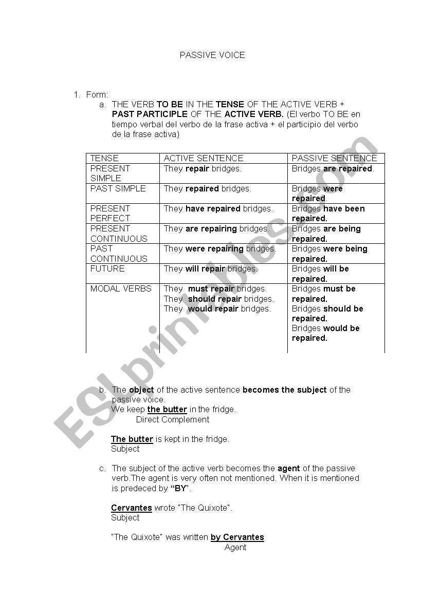English Worksheets Passive Voice Grammar Sheet