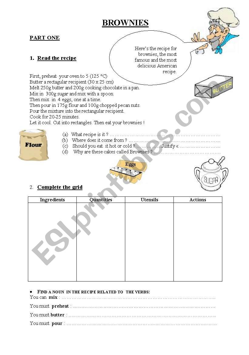How to make brownies worksheet