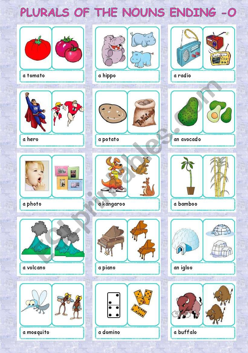 plurals + nouns ending -o (2/5)