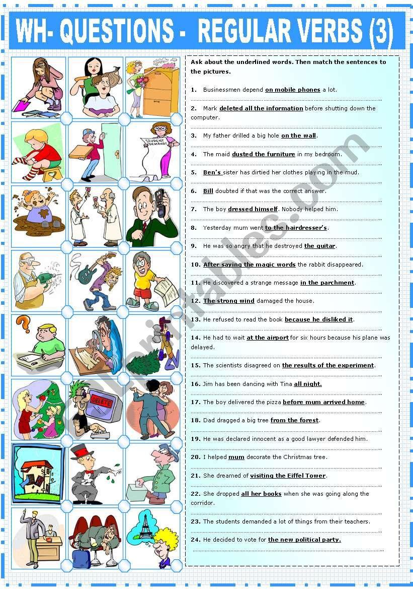 REGULAR VERBS –EXERCISES (3) worksheet