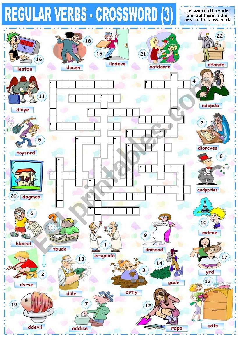 REGULAR VERBS - CROSSWORD (3) worksheet