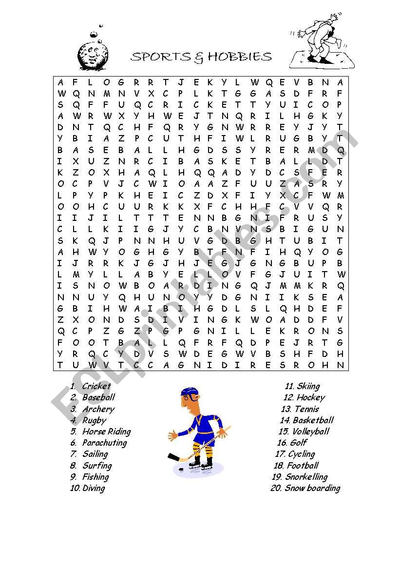 Sports and Hobbies wordsearch worksheet