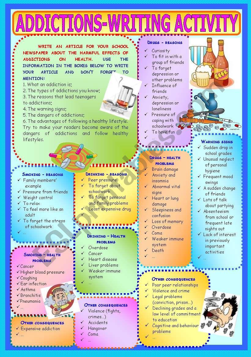 Addictions - Writing Activity worksheet