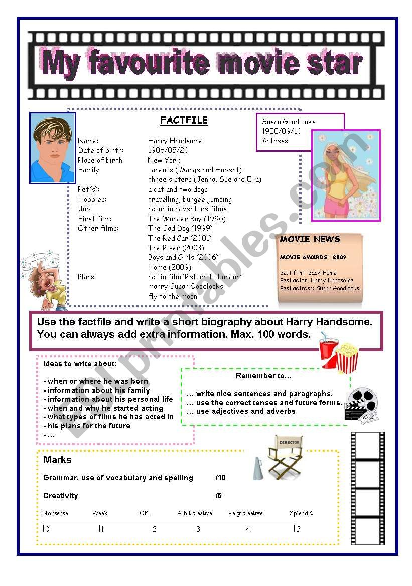 A writing activity: my favourite movie star
