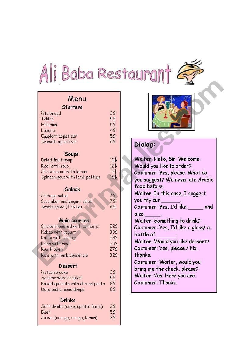 Ali Baba Restaurant worksheet