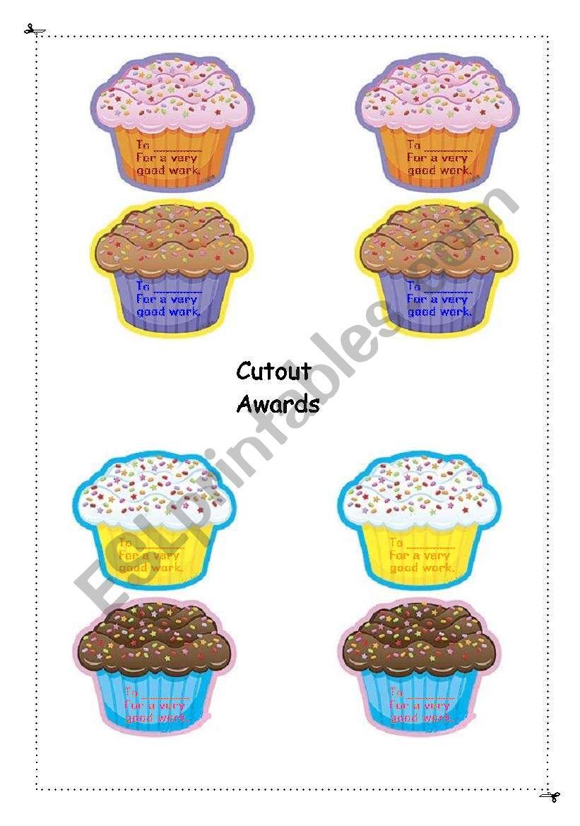 Awards cutouts worksheet