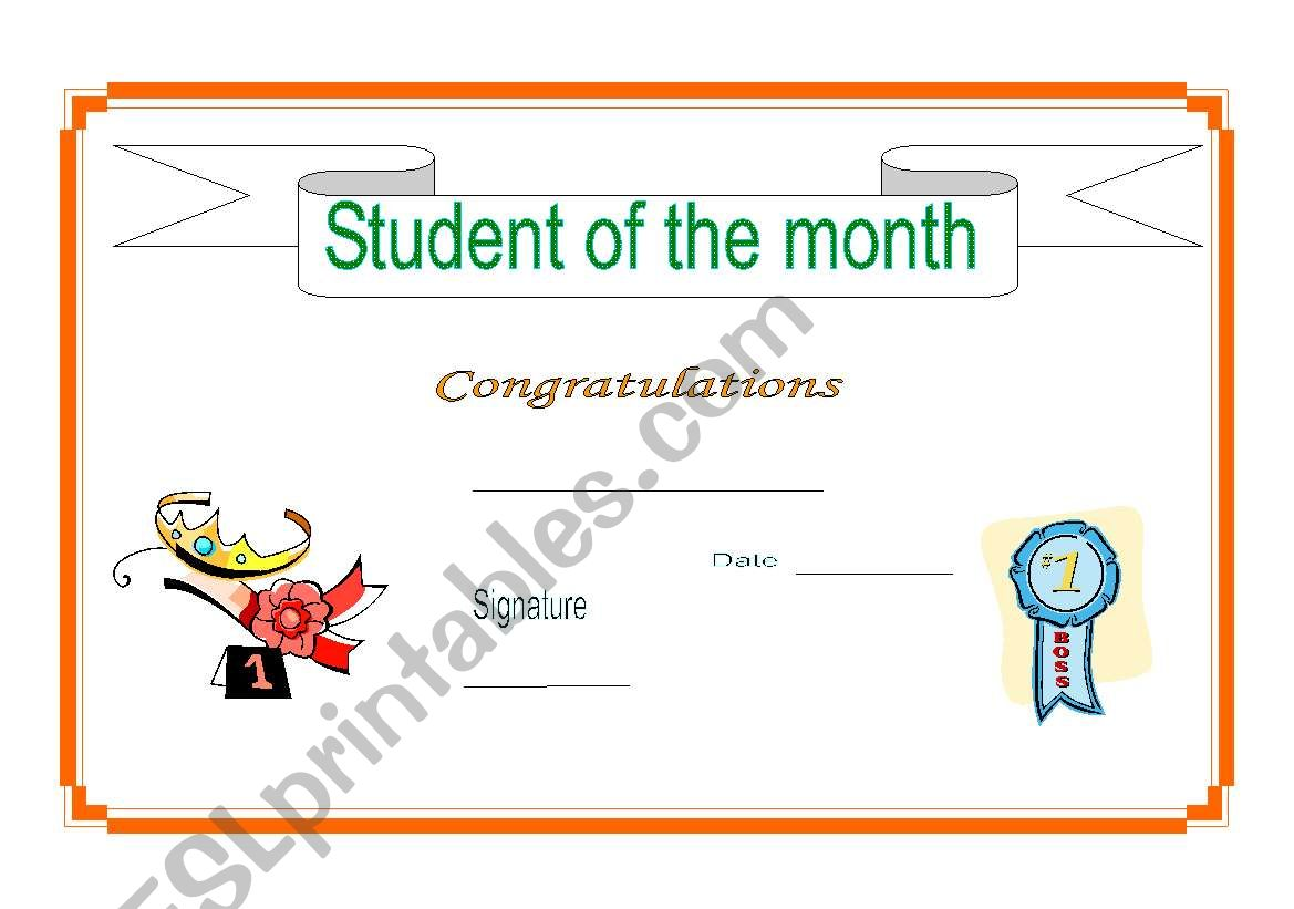 Student of the month worksheet