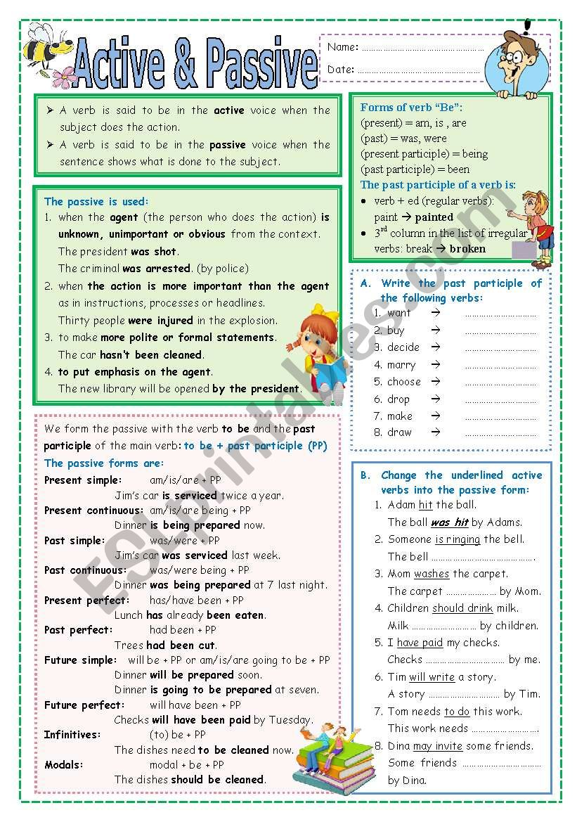 Active and Passive worksheet