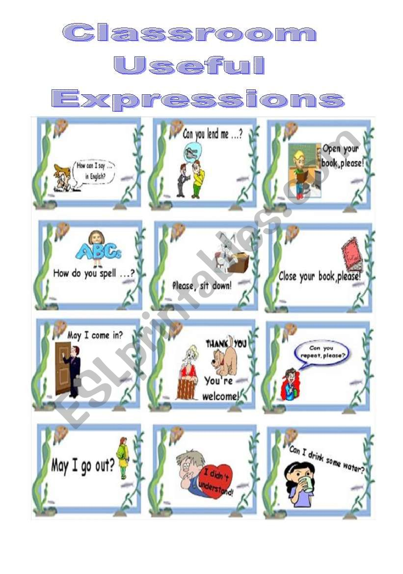 Classroom Useful Expressions worksheet