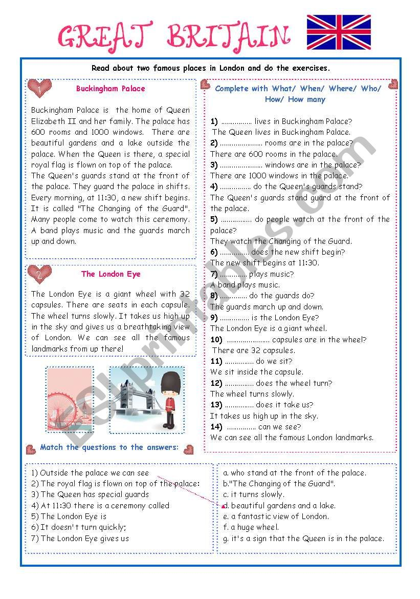 ENGLISH-SPEAKING COUNTRY (7) - EXERCISES/GREAT BRITAIN