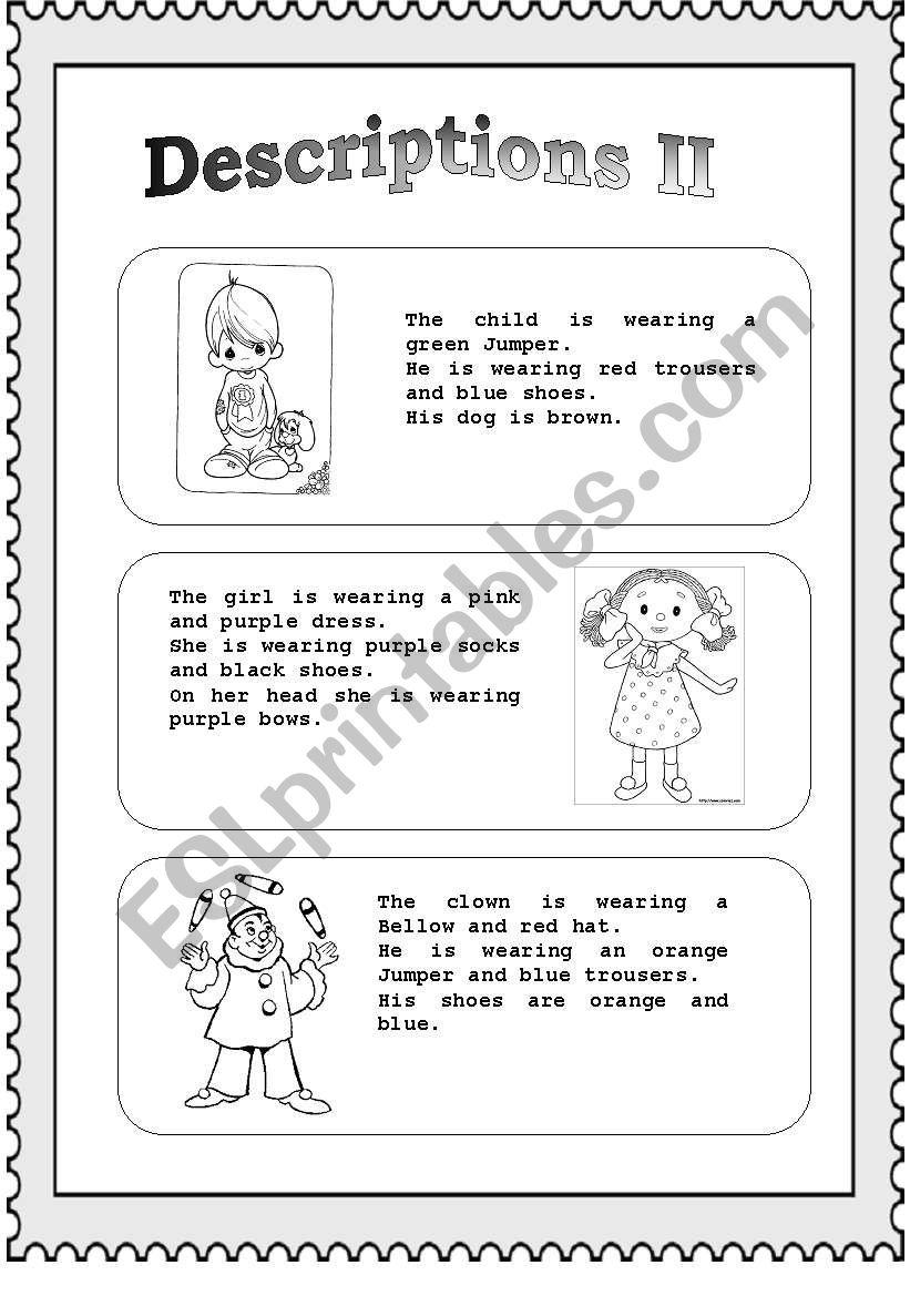 Descriptions (part II) worksheet