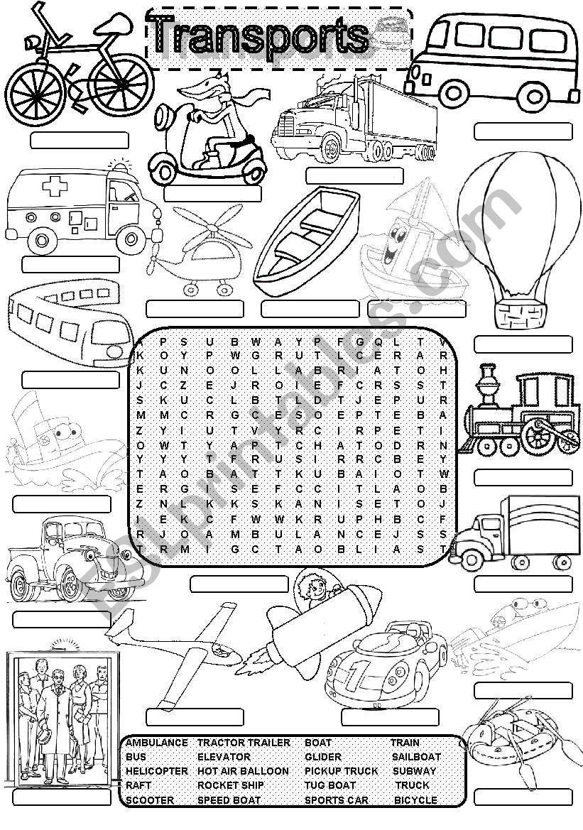 Wordsearch TRANSPORTS #1 worksheet