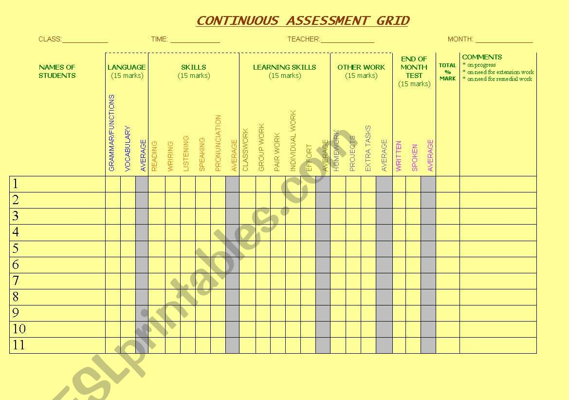 CONTINUOUS ASSESSMENT GRID worksheet