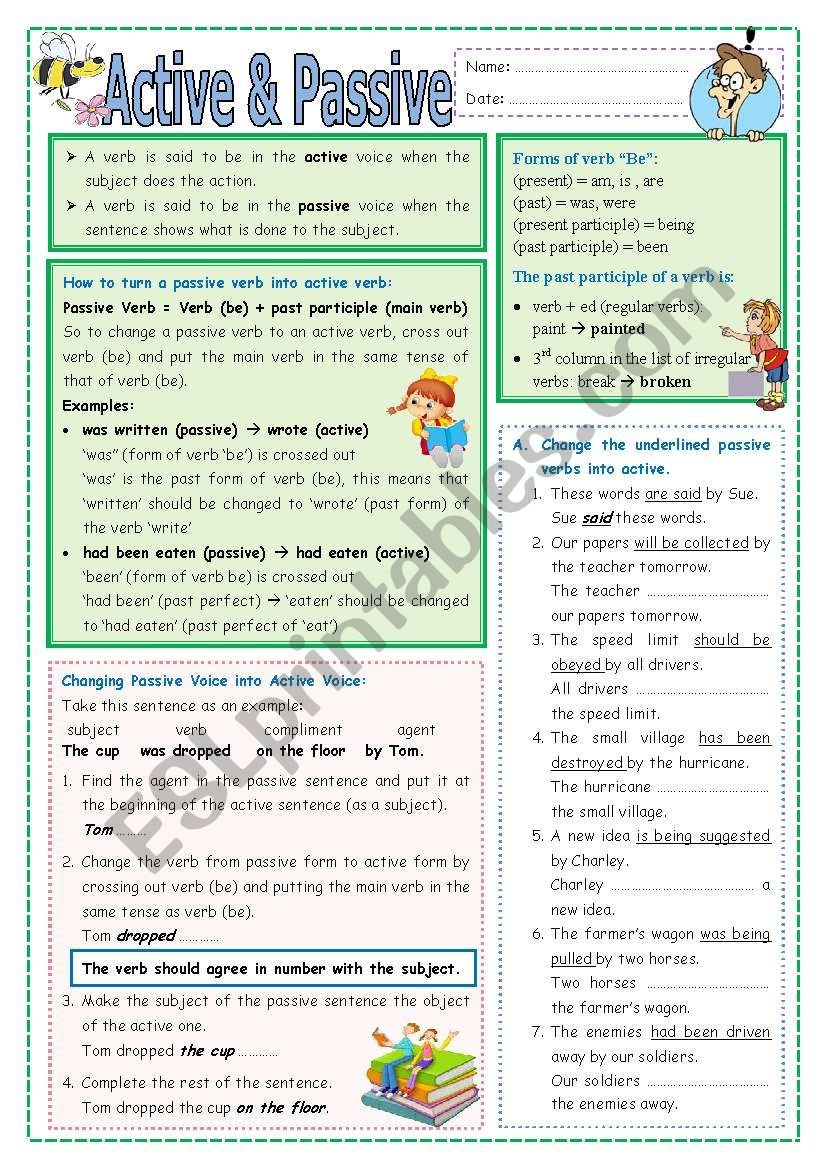 Active & Passive (part 2) worksheet