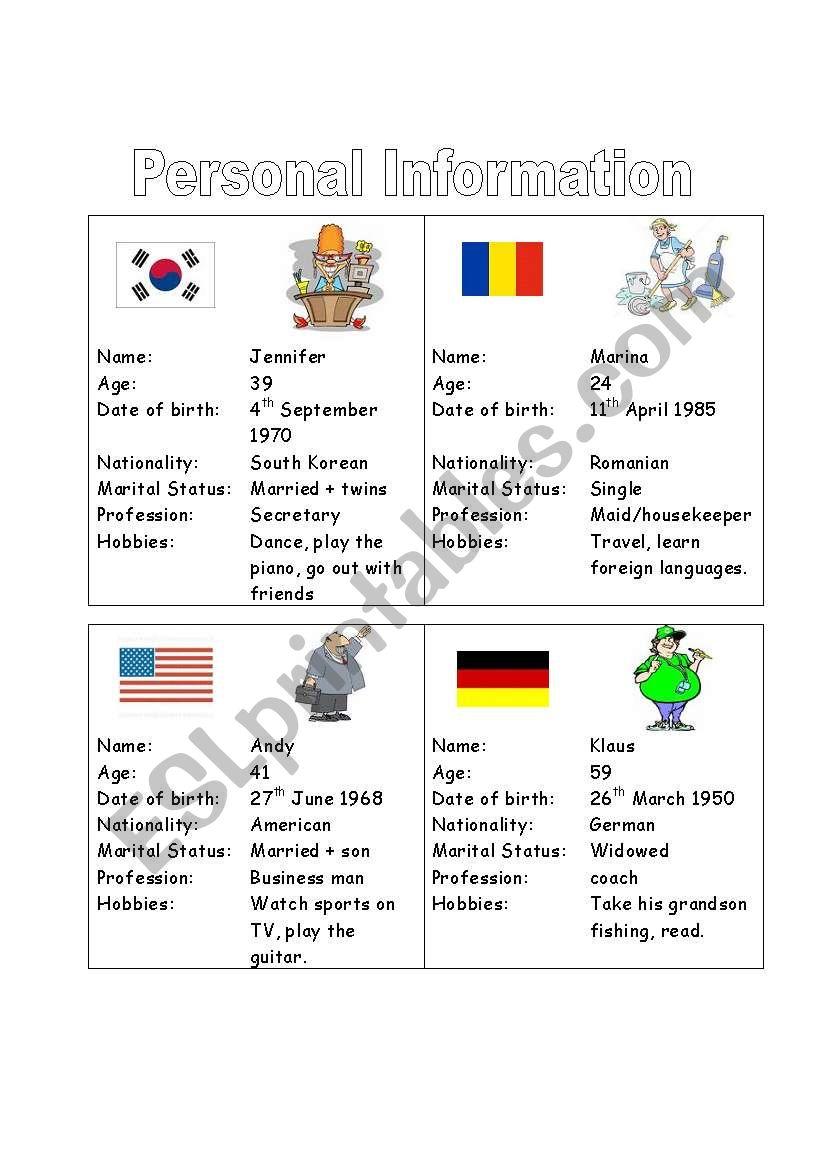 Personal Information 2 worksheet