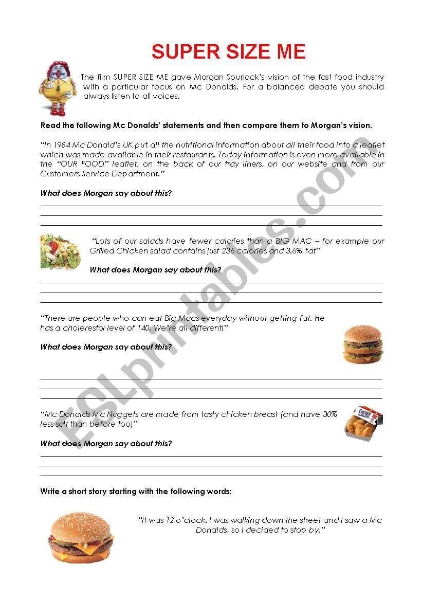 Worksheets Supersize Me Worksheet super size me esl worksheet by efatalini worksheet