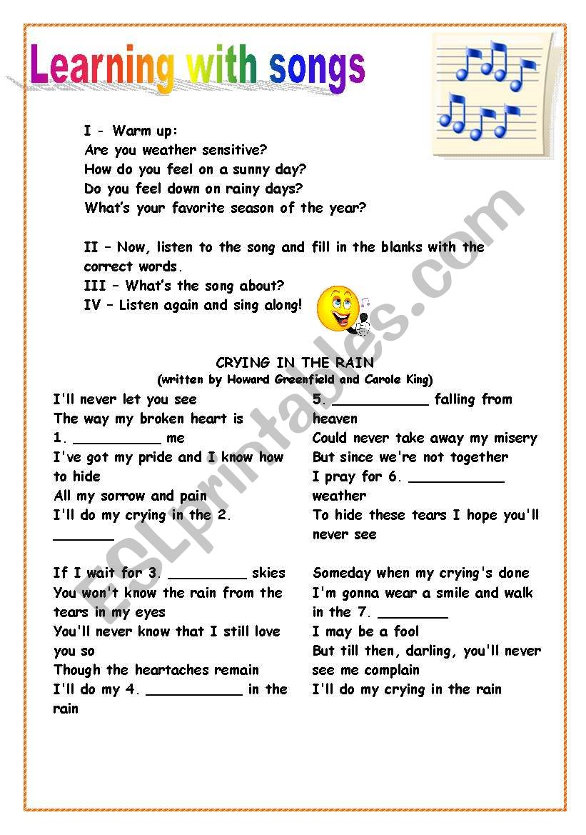 Song: Crying in the Rain worksheet