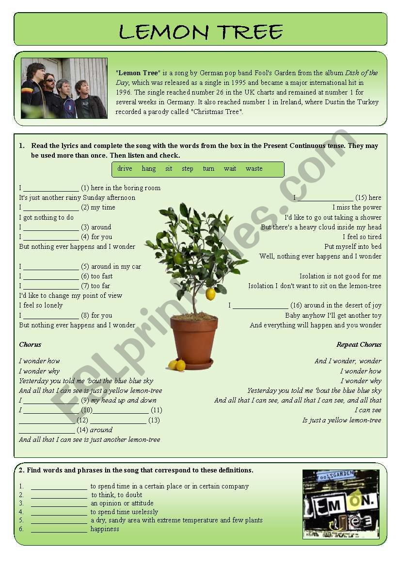 Lemon tree worksheet