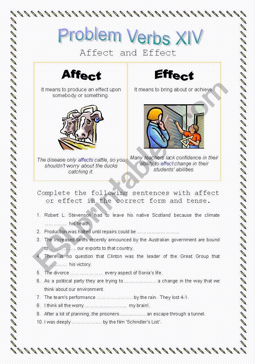 Problem Verbs XIV - Affect and Effect - Theory and Practice - with key