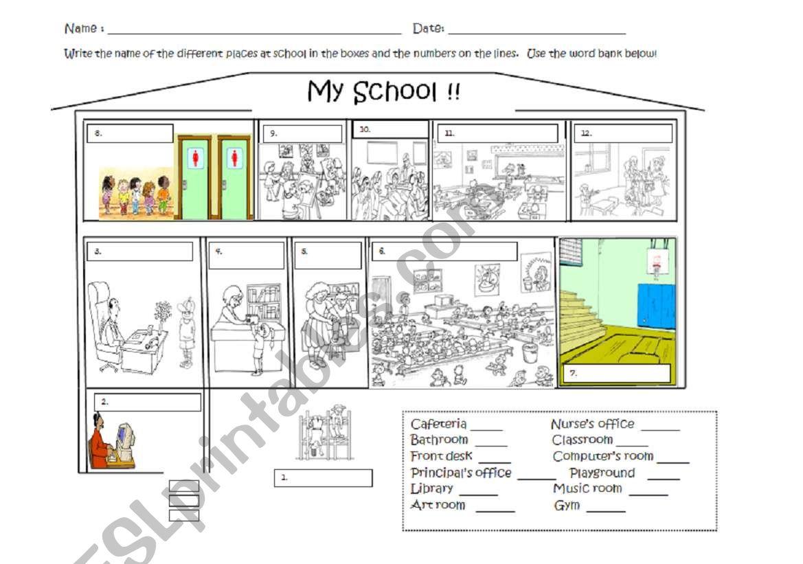 school map worksheet