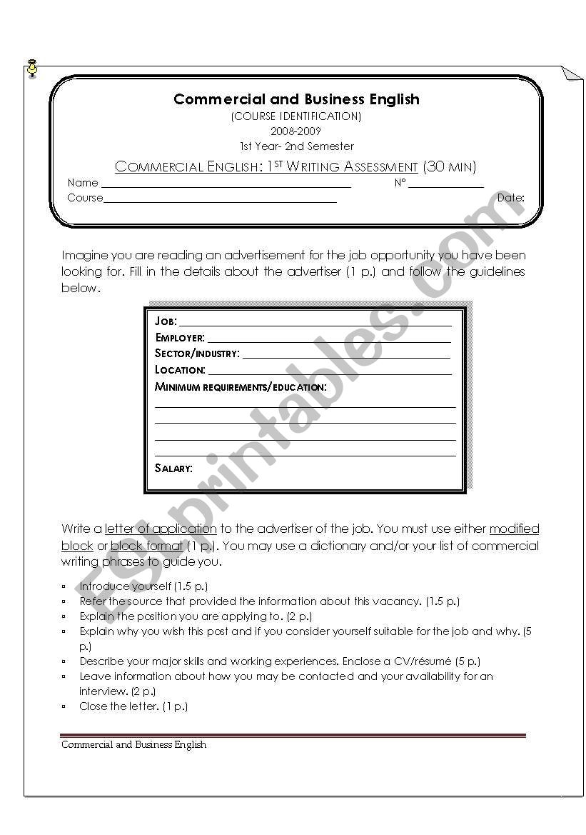 Commercial Writing Assessment: Letter of Aplication