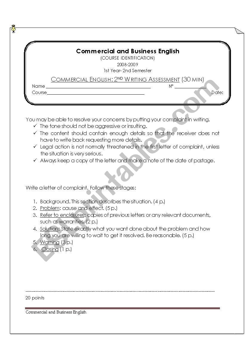 Commercial Writing Assessment: Letter of Complaint