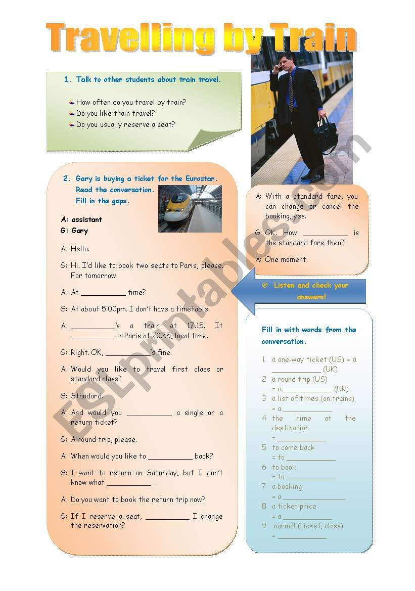 Travelling by train - 4 pages worksheet