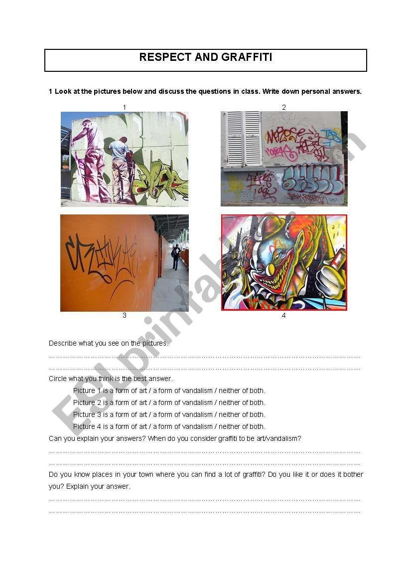 Respect and graffiti worksheet