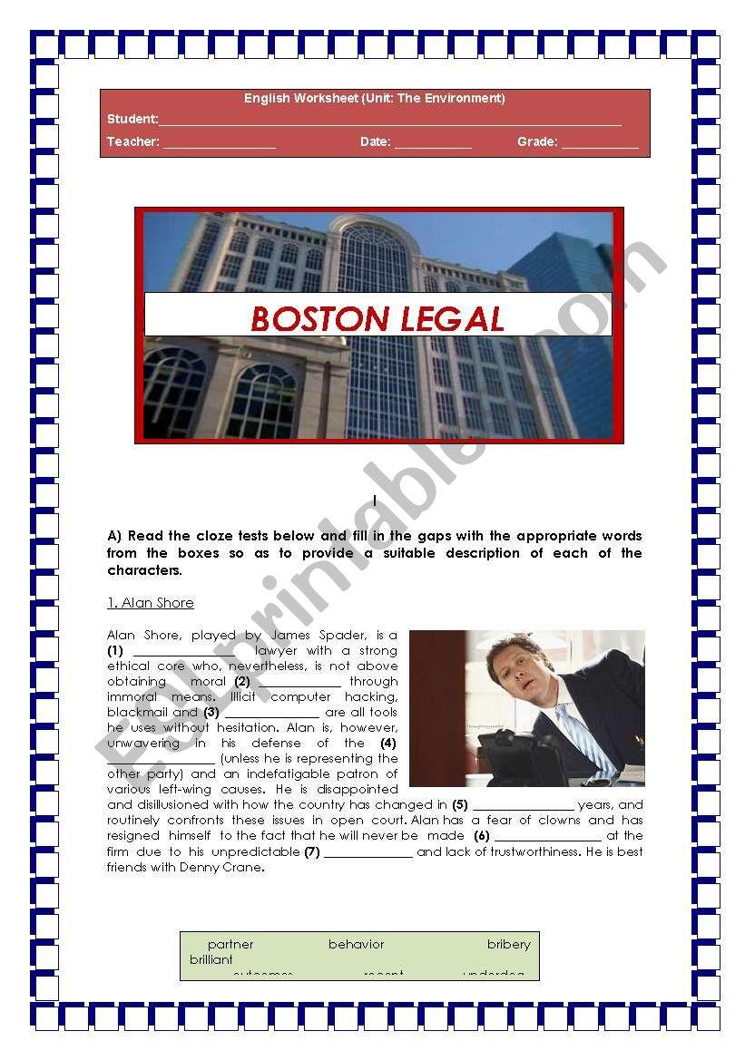 BOSTON LEGAL (topic: The Environment)