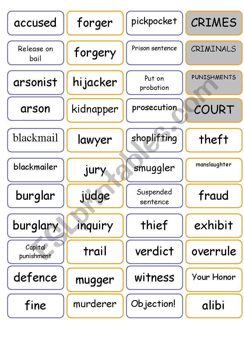 crime vocabulary intermediate esl worksheet by ultimatule. Black Bedroom Furniture Sets. Home Design Ideas